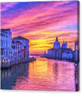 Venice Grand Canal At Sunset Canvas Print