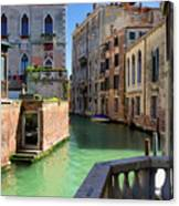 Venice Italy Canal And Lovely Old Houses Canvas Print