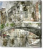 Venice Italy Digital Watercolor On Photograph Canvas Print