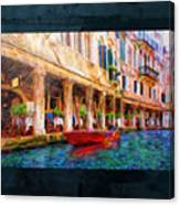 Venice Red Boat And Outdoor Cafe Canvas Print