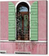 Venice Window In Pink And Green Canvas Print