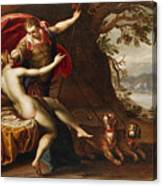 Venus And Adonis With Hounds Canvas Print