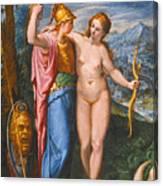 Venus And Minerva In A Landscape Canvas Print