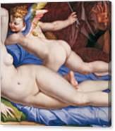 Venus, Cupid And A Satyr Canvas Print