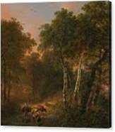 Verboeckhoven  Eugene   Forest Landscape With Animals Canvas Print