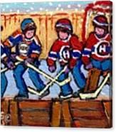 Verdun Hockey Rink Paintings Edmonton Oilers Vs Hometown Habs Quebec Hockey Art Carole Spandau       Canvas Print