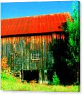 Vermont Barn With Really Red Roof  Canvas Print
