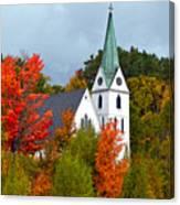 Vermont Church In Autumn Canvas Print