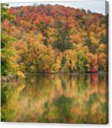 Vermont Fall Foliage Reflected On Pogue Pond Canvas Print