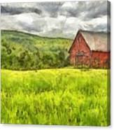 Vermont Farm Landscape Pencil Canvas Print