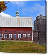 Vermont Farm Woodstock Vt Red Barn Canvas Print