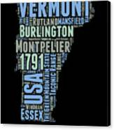 Vermont Word Cloud 1 Canvas Print