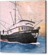 Verna Jean Fishing Boat Nautical Chart Map Canvas Print