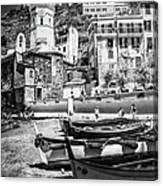 Vernazza Boats And Church Cinque Terre Italy Bw Canvas Print