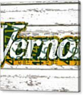 Vernors Beverage Company Recycled Michigan License Plate Art On Old White Barn Wood Canvas Print