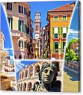 Verona Colorful Tourist Landmarks Postcard  Canvas Print