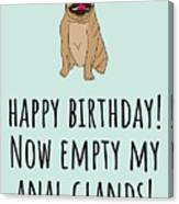 Veterinarian Birthday Card - Veterinary Greeting Card - Empty My Anal Glands - Pug Birthday Card Canvas Print