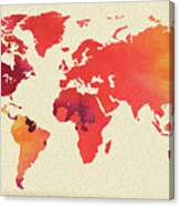 Vibrant Hot Watercolor World Map Canvas Print