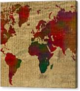 Vibrant map of the world in watercolor on old sheet music and vibrant map of the world in watercolor on old sheet music and newsprint canvas print gumiabroncs Gallery