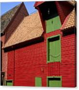 Vibrant Red And Green Building Canvas Print