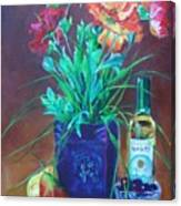 Vibrant Still Life Paintings - Poppies With Fruit And Wine - Virgilla Art Canvas Print