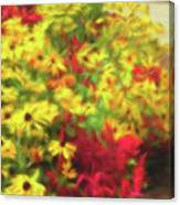 Vibrant Yellow Daisies And Red Garden Flowers Canvas Print