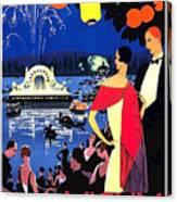 Vichy, Firework At Celebration Night Canvas Print