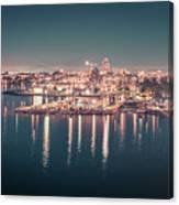 Victoria British Columbia City Lights View From Cruise Ship Canvas Print