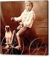 Victorian Boy With Pug Dog And Tricycle Circa 1900 Canvas Print