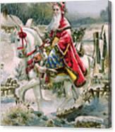 Victorian Christmas Card Depicting Saint Nicholas Canvas Print