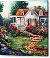 Victorian House With Gardens Canvas Print