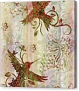 Victorian Humming Bird Pink Canvas Print