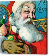 Victorian Illustration Of Santa Claus Holding Toys And Blowing On A Trumpet Canvas Print