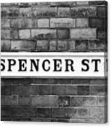 Victorian Metal Street Sign For Spencer Street On Red Brick Building In The Jewellery Quarter Canvas Print