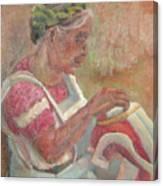 Viejita Bordando Canvas Print