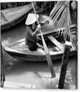 Vietnamese Woman Boat Ores Really For Tourist Mekong Delta  Canvas Print