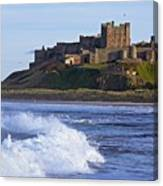 View From Ocean Of Bamburgh Castle Canvas Print