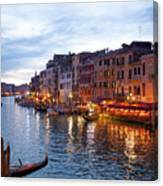 View From Rialto Bridge Of Venice By Night. Canvas Print