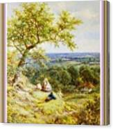 View From The Hill On The Village Below. P B With Decorative Ornate Printed Frame. Canvas Print