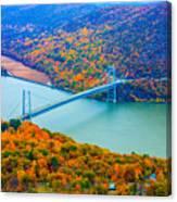 View From Top Of Bear Mountain Of Bear Mountain Bridge Canvas Print