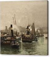 View Of A Dutch Harbour Canvas Print
