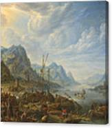 View Of A River With Boat Moorings Canvas Print