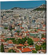View Of Athens, Greece, From The Parthenon Canvas Print