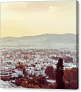 view of Buildings around Athens city, Greece Canvas Print
