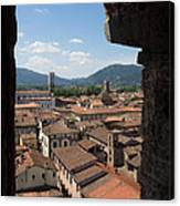 View Of Buildings Through Window Canvas Print