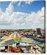 View Of Central Market Landmark In Phnom Penh City Cambodia Canvas Print