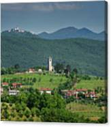 View Of Church Of The Holy Cross In Kojsko And Sveta Goro Holy M Canvas Print