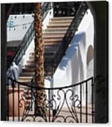View of Courtyard Through Adobe Doorway Photograph by Colleen Canvas Print