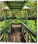 View Of Lily Pads From Gazebo By Kaye Menner Canvas Print