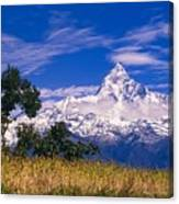 View Of Machhapuchhare From Sarangkot Canvas Print